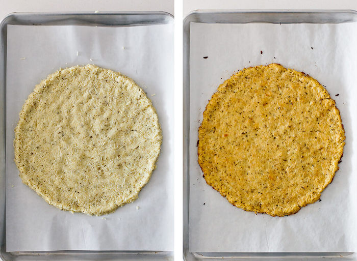 side by side photos how to make cauliflower pizza crust easy pizza dough recipe baked on paper lined baking sheet