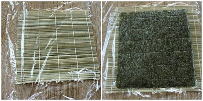 side by side photos of bamboo mat covered with foil dragon roll sushi nori sheet on top
