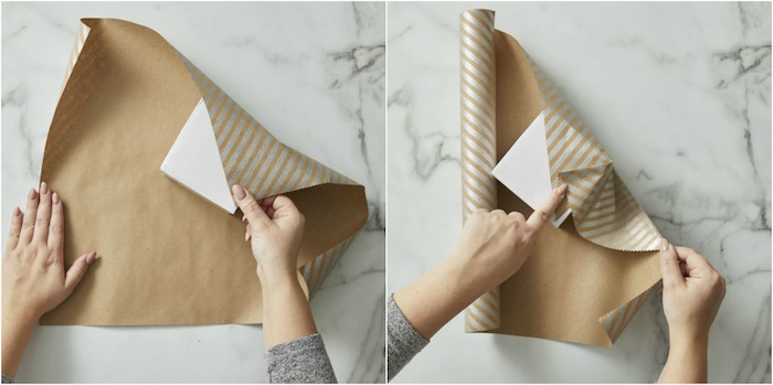 side by side photos of diy tutorial on wrapping a small box with japanese technique gift wrap ribbon gray and gold wrapping paper
