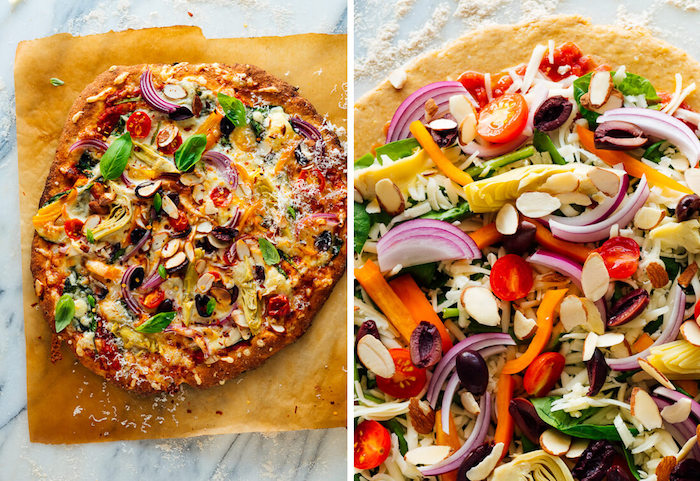 side by side photos of how to make pizza from scratch with onion olives peppers tomatoes pine nuts