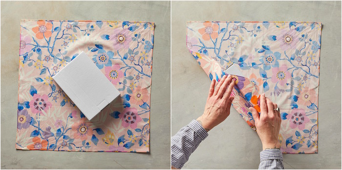side by side photos of how to wrap a gift with fabric christmas gift wrapping ideas in floral print