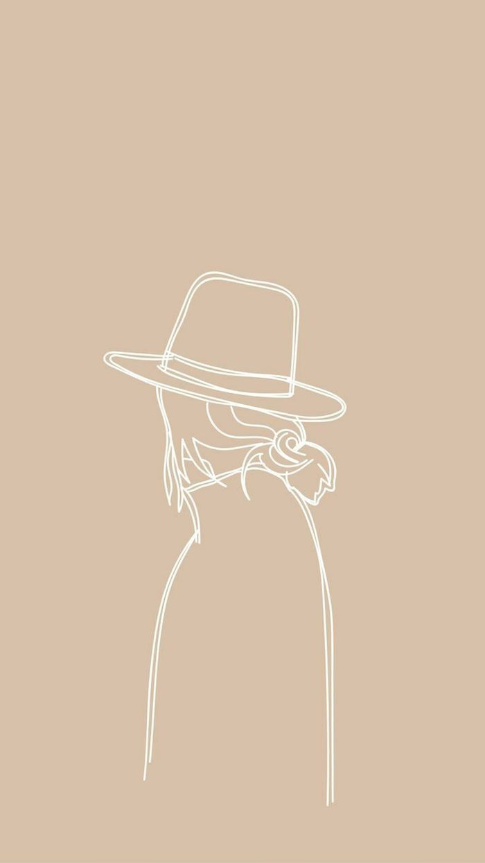 simple desktop backgrounds white outline drawing of woman wearing a hat on beige background