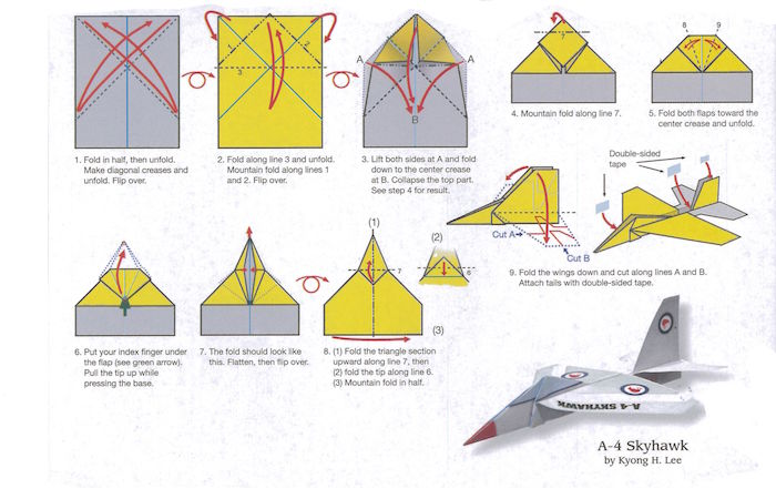 step by step diy tutorial how to fold a paper airplane in eleven steps drawing on white background with yellow and gray
