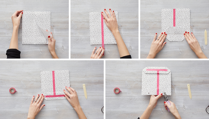 step by step diy tutorial how to wrap a christmas present made from white wrapping paper with black dots pink duct tape