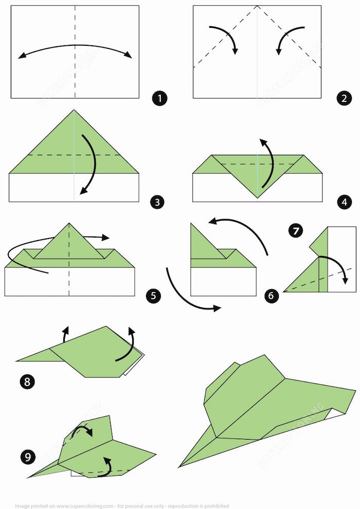 step by step tutorial in nine steps how to make a paper airplane drawn in green and black on white background