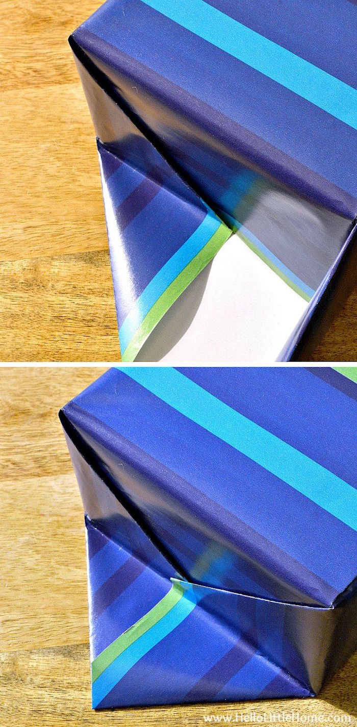 step by step tutorial on how to wrap a box gift wrapping ideas made with wrapping paper in different shades of blue