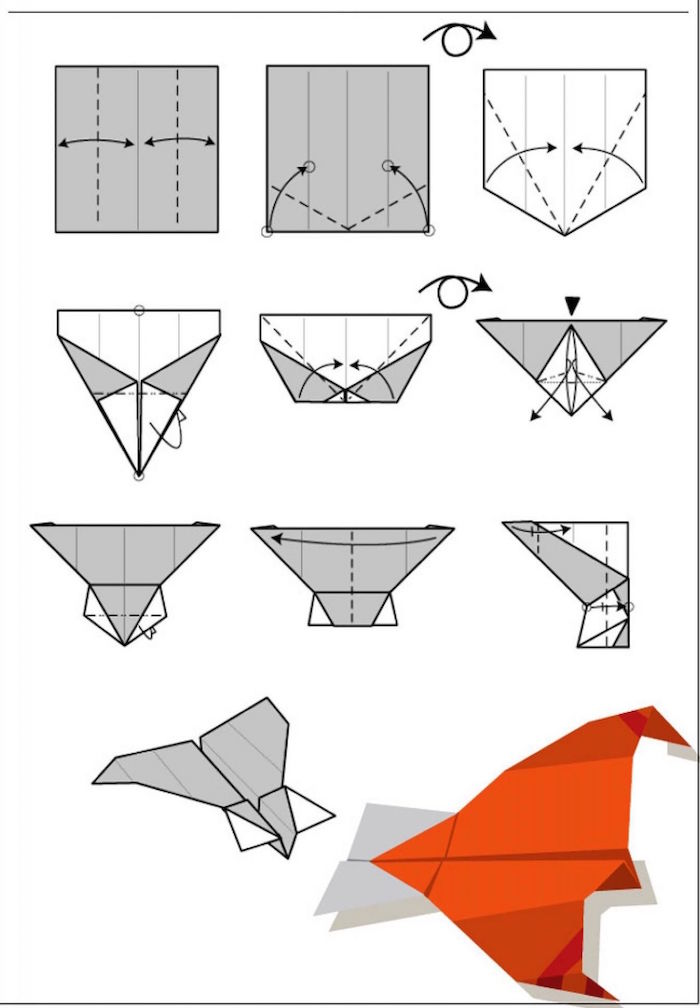 ten step tutorial step by step diy how to make a paper airplane drawn in red grey and white on white background