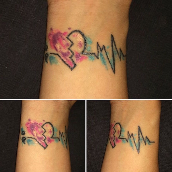 three photos from each angle of watercolor tattoo small heart tattoos heartbeat line with broken heart