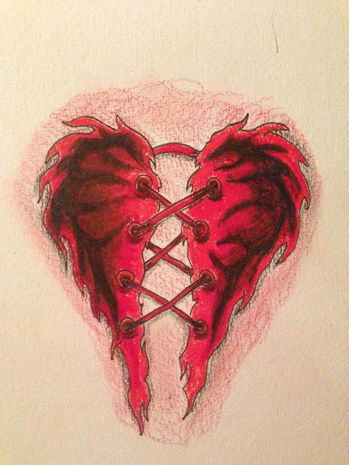 two piece of a heart in the shape of devils wings held together with stitches heart tattoos with names drawing