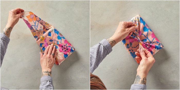 two side by side photos of a box being wrapped with fabric how to gift wrap a box bow tied on top