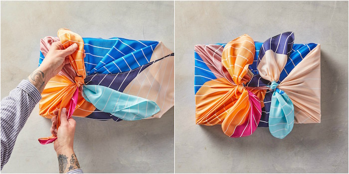 two side by side photos of box being wrapped in silk fabric gift wrap ribbon in blue orange purple pink