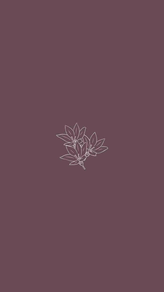 white outlines of three flowers in the middle of dark purple background simple desktop backgrounds