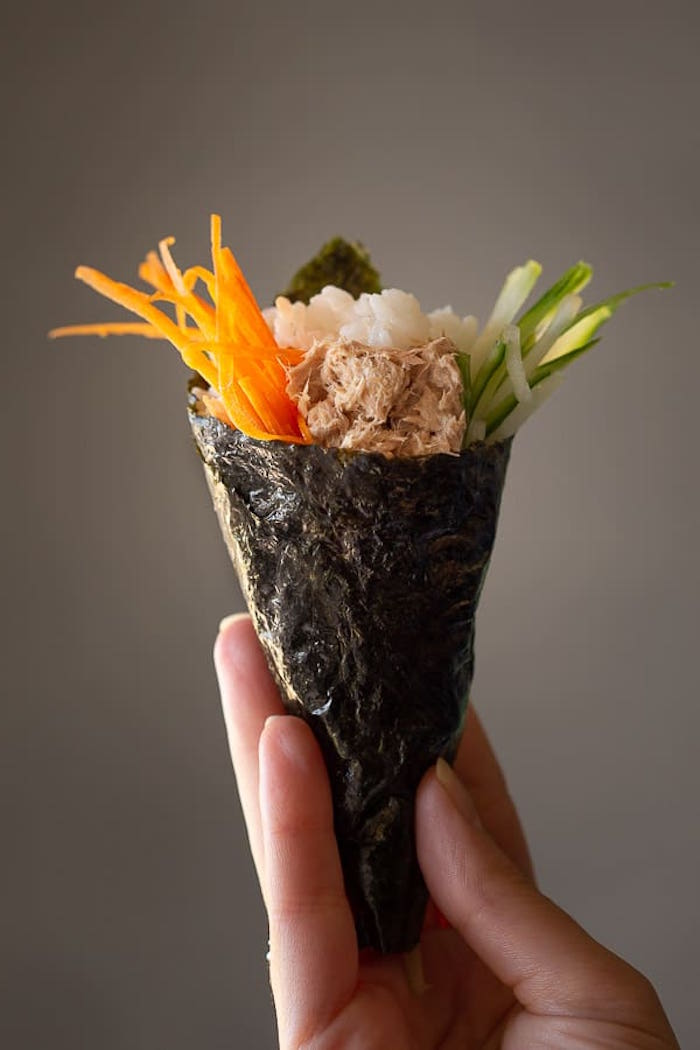 white rice cucumber avocado carrots meat how to cook sushi rice wrapped in nori as burrito
