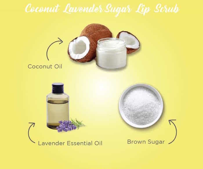 yellow background diy lip scrub recipe with coconut oil brown sugar lavender essential oil