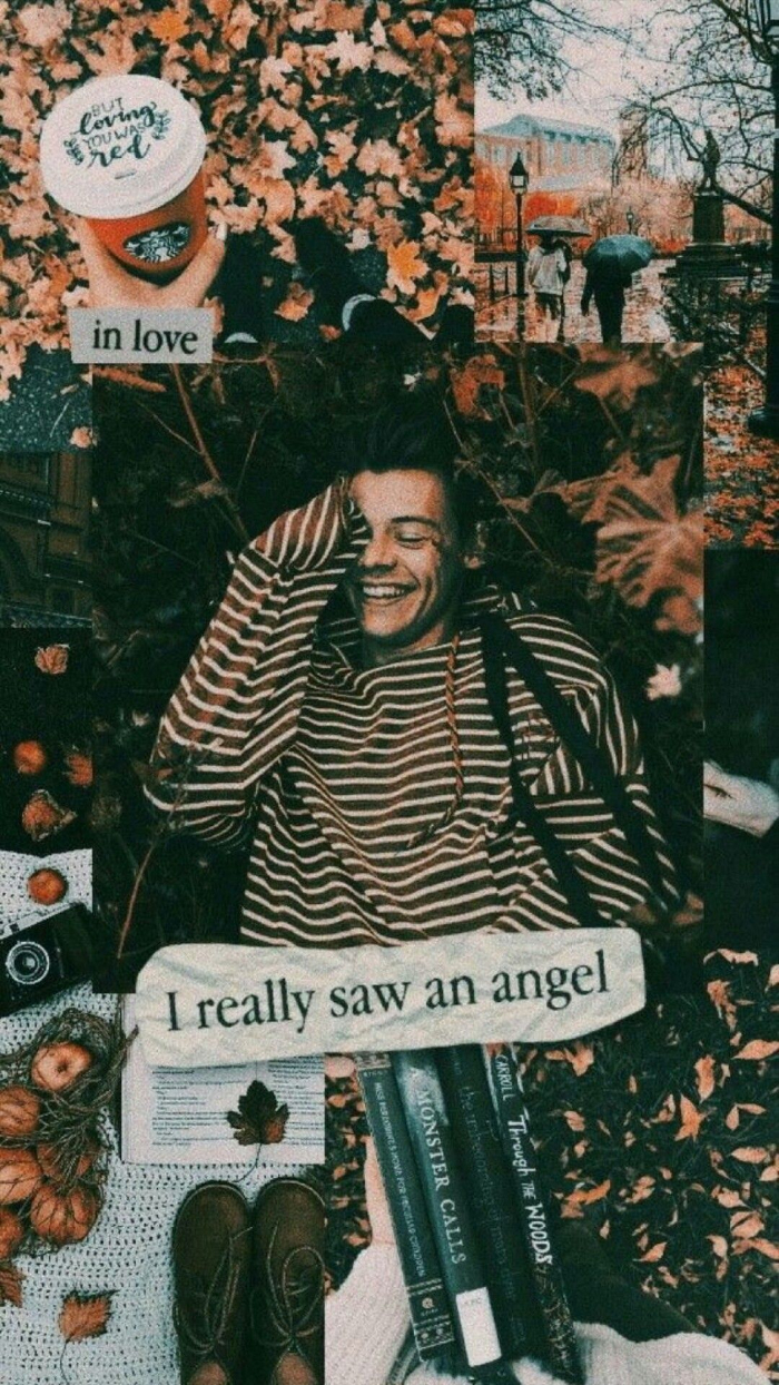 i really saw an angel written under photo of harry styles pictures mood board photo collage