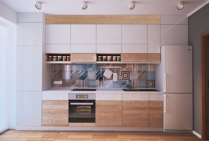backsplash with tiles in different prints in blue and beige kitchen design ideas white kitchen cabinets white countertops