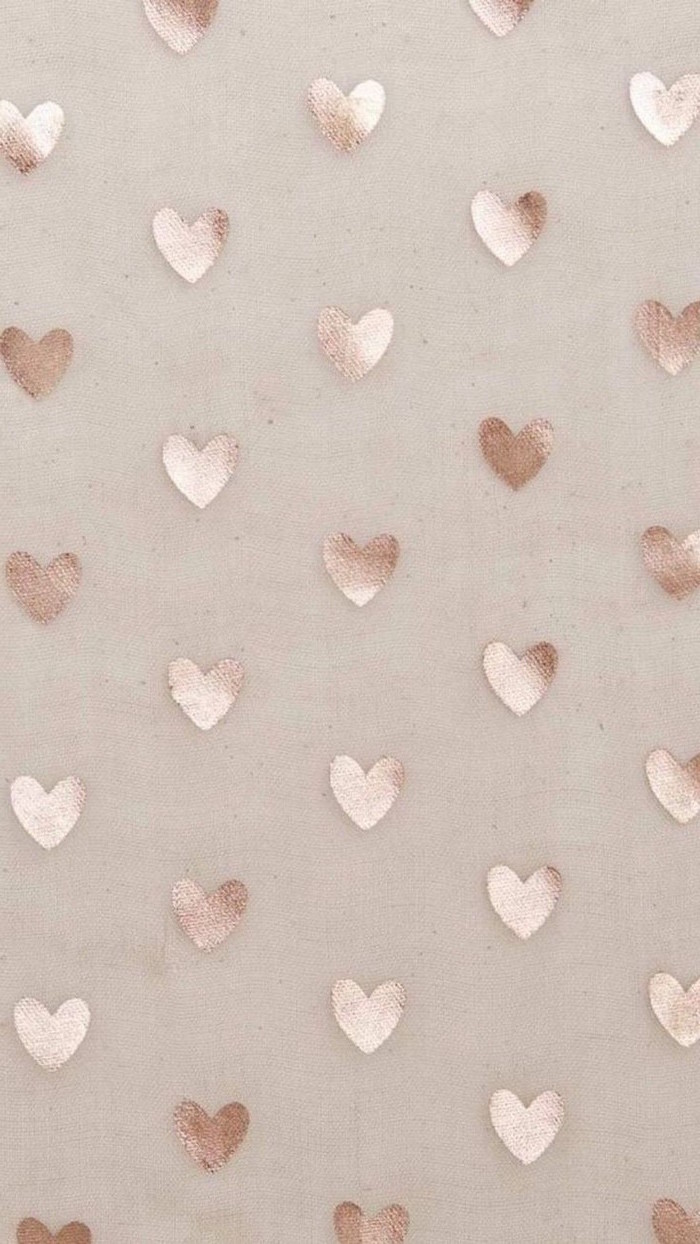beige background valentine's day 2021 lots of gold hearts spread out around it in the same size