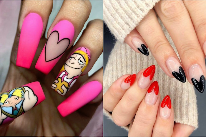 black and red hearts shaped french manicure on almond nails pink matte nail polish valentine's day acrylic nails side by side photos