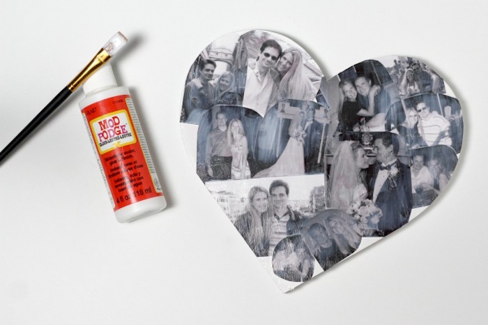 black and white photos arranged on the heart covered with mod podge cute things to get your boyfriend for valentines day step by step diy tutorial