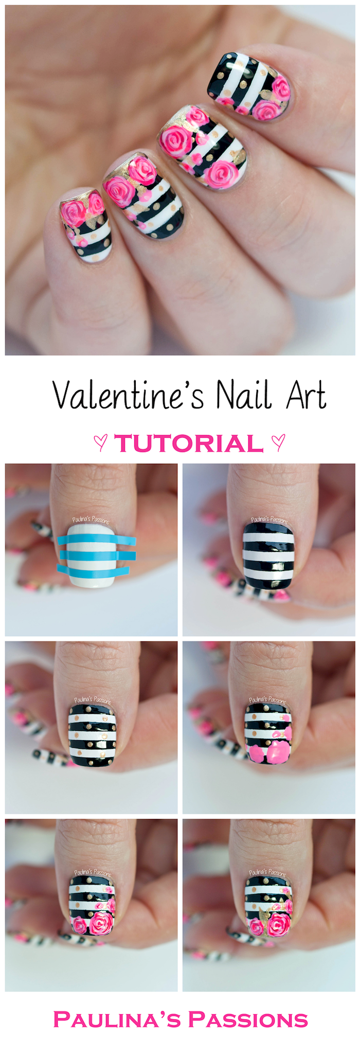 black and white striped nail polish valentines day nails coffin shape pink roses decorations step by step diy tutorial