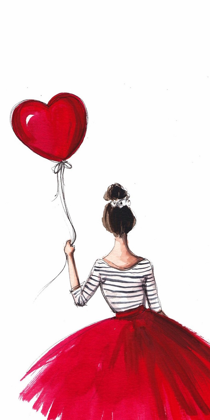 black and white striped top red skirt worn by girl with brown hair in a bun valentines wallpaper holding a red heart shaped balloon drawing