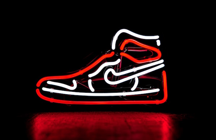 black background cool nike wallpapers air jordan sneaker made from red and white neon lights
