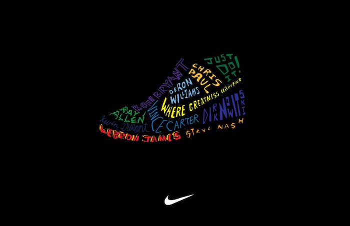 black background nike wallpaper iphone colorful sneaker in the middle made from names of famous basketball players