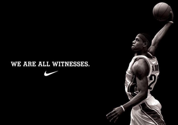 black background nike wallpaper iphone lebron james holding a basketball we are all witnesses written in white above nike logo