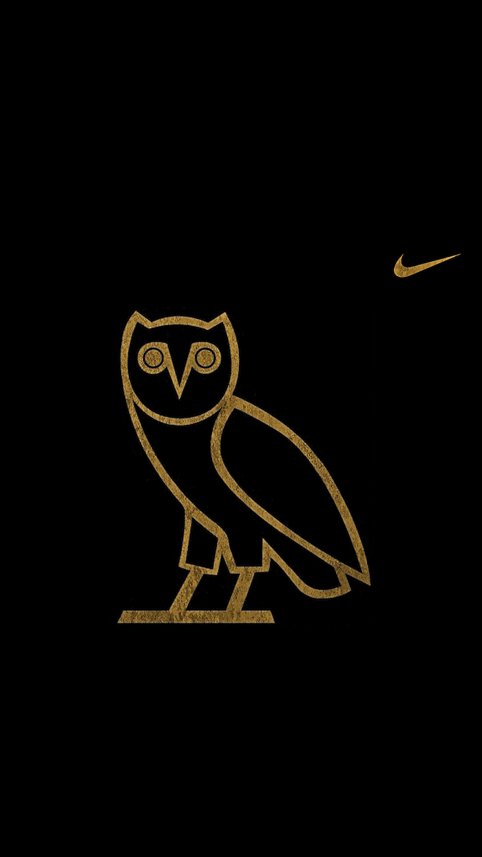 black background with ovo owl logo in gold in the middle black nike wallpaper gold nike logo on the side