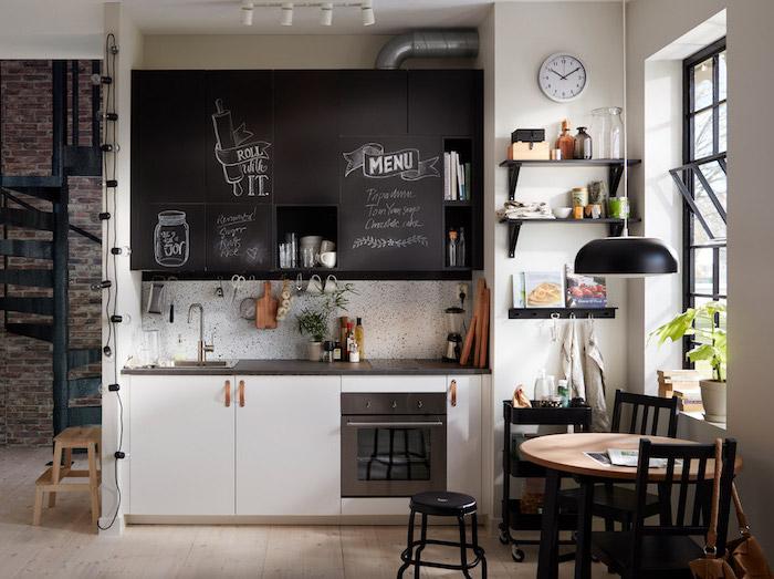black chalkboard kitchen cabinets kitchen layout ideas black countertops on white cabinets white backsplash wooden floor