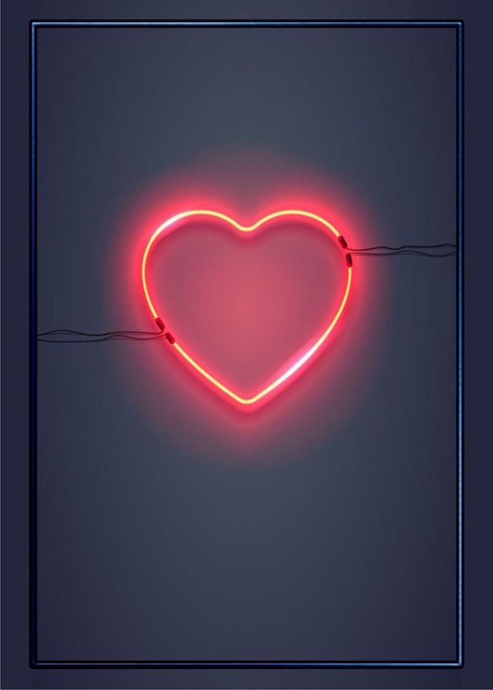 black gray background with dark frame valentine's day 2021 red neon heart in the middle