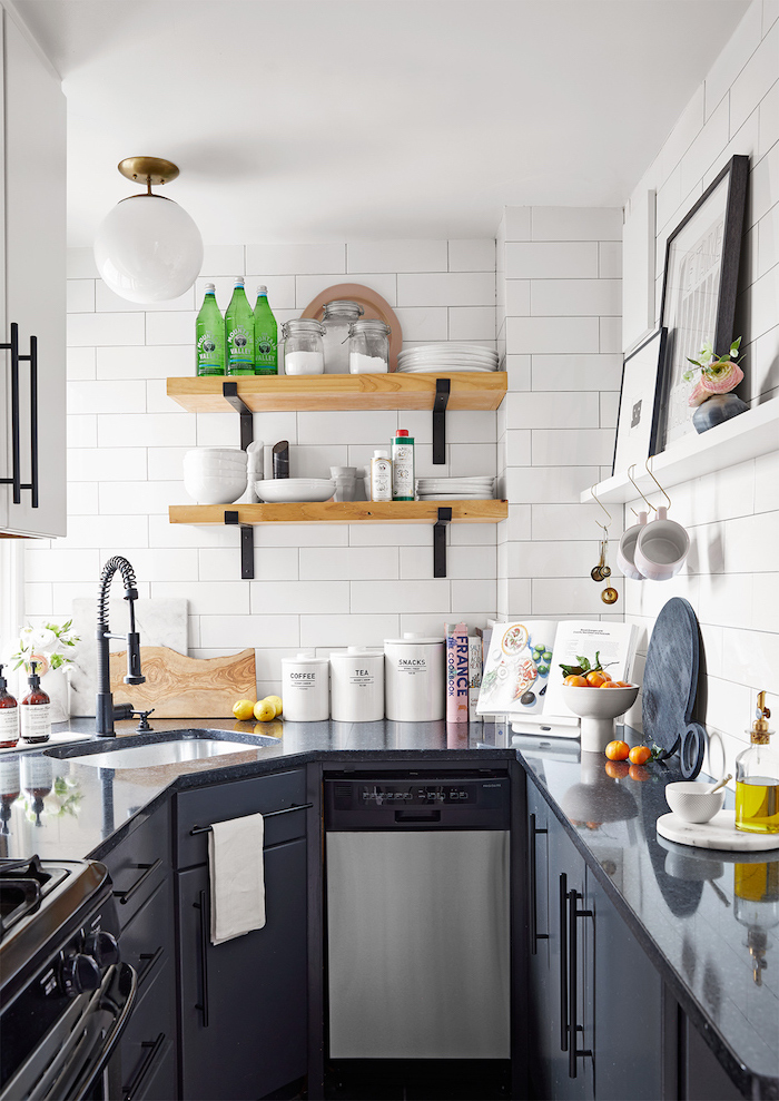 black kitchen cabinets dark gray granite countertops small kitchen remodel ideas open shelving on white subway tiles backsplash