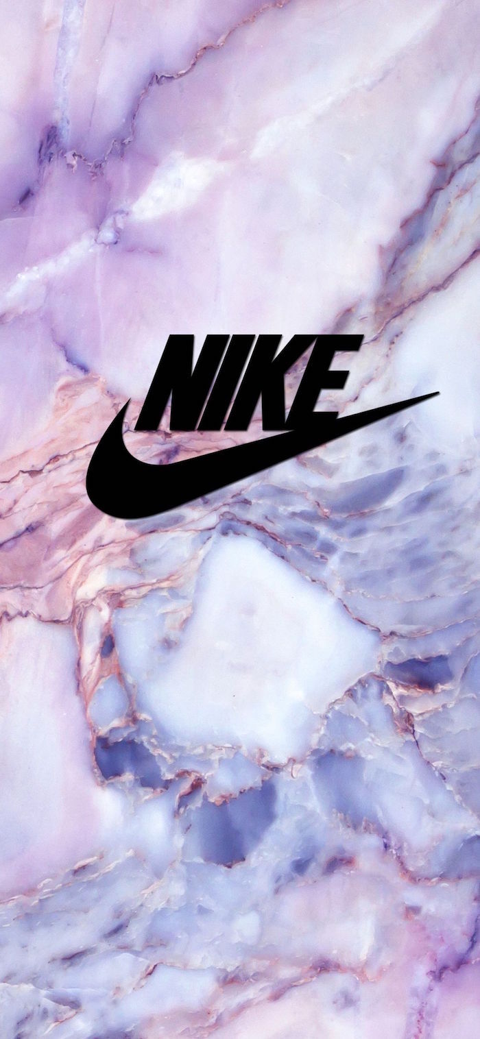 black nike logo in the middle nike shoes wallpaper purple and pink marble background