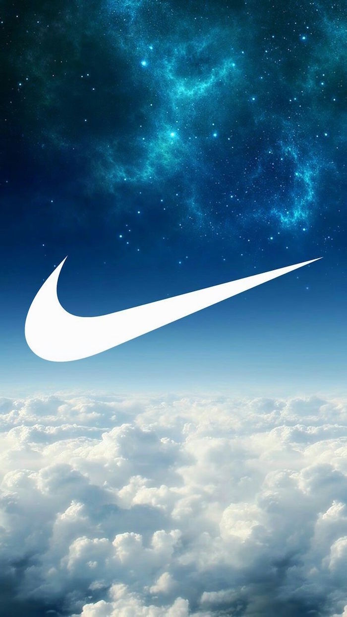 black nike wallpaper white nike logo in the middle clouds and blue galaxy sky in the middle