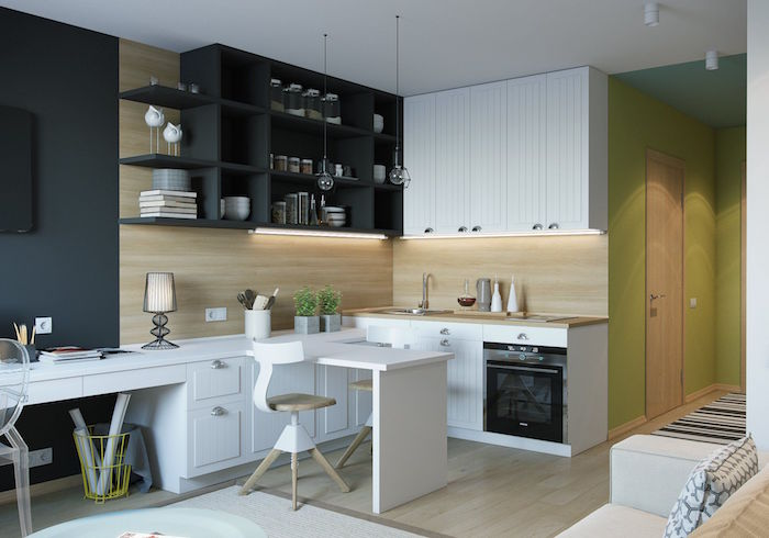 black open shelves white cabinets wooden countertop and backsplash kitchen cabinet ideas small wooden chairs