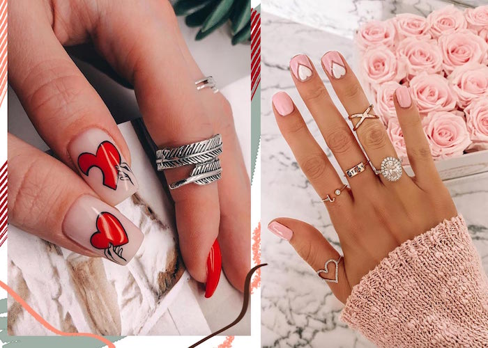 black outlines red hearts on one hand valentines nail designs 2021 pink and white nail polish on other side by side photos