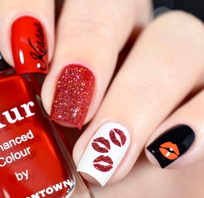 black white red and red glitter nail polish on medium length square nails valentines nail designs 2021 different decoration on each nail