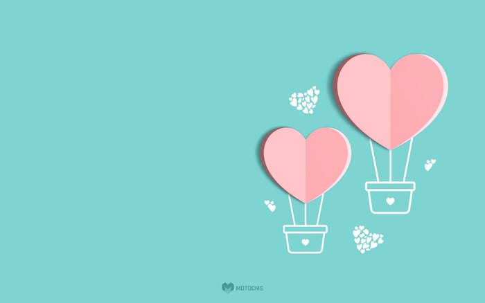 blue background valentines day background pink hearts drawn as hot air balloons with smaller hearts floating around them