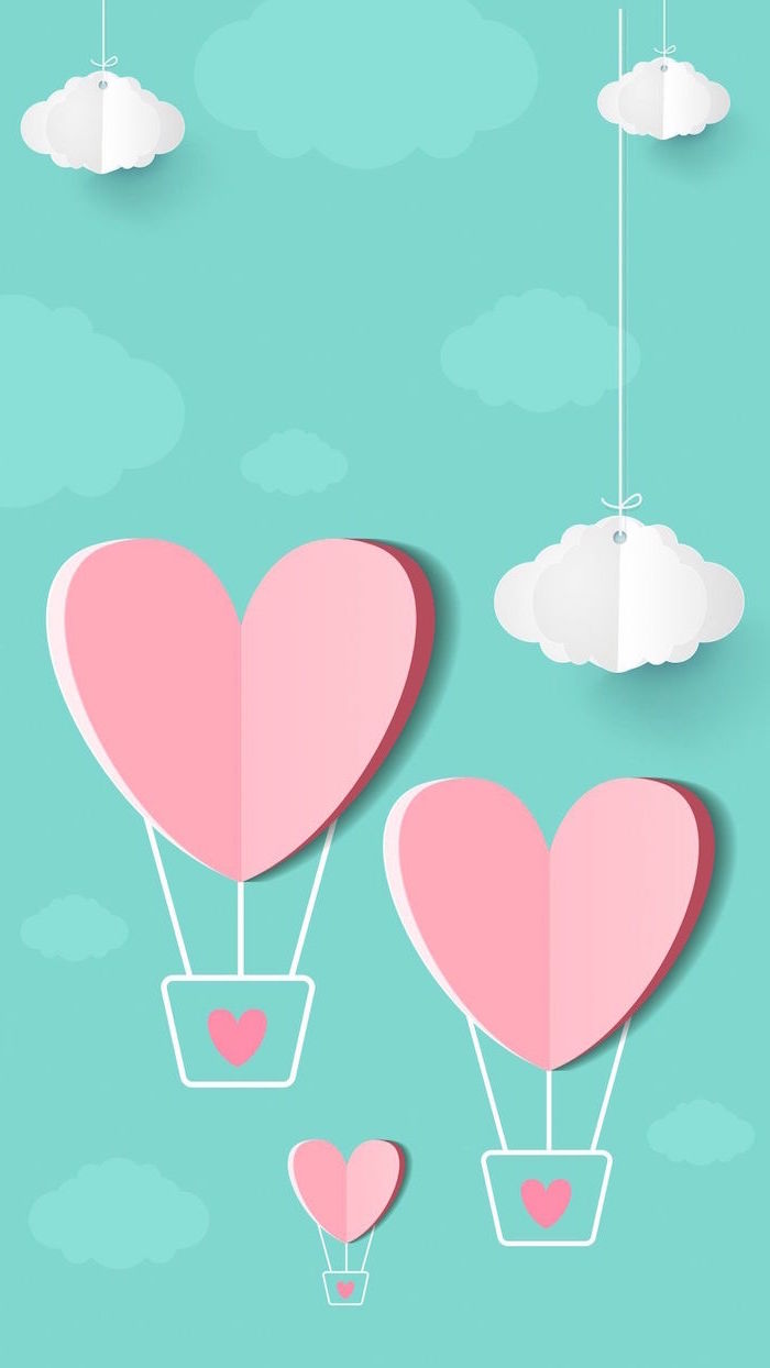 blue background with white clouds valentine's day 2021 three pink heart shaped hot air balloons