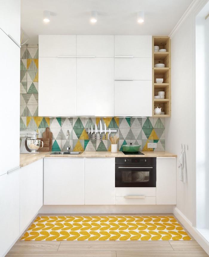 blue green yellow gray backsplash tiles white kitchen cabinets wooden countertops small kitchen design ideas