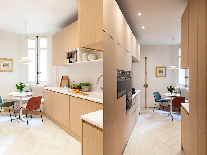 breask fast nook with red and blue chairs kitchen decorating ideas wooden cabinets with white countertop open shelving