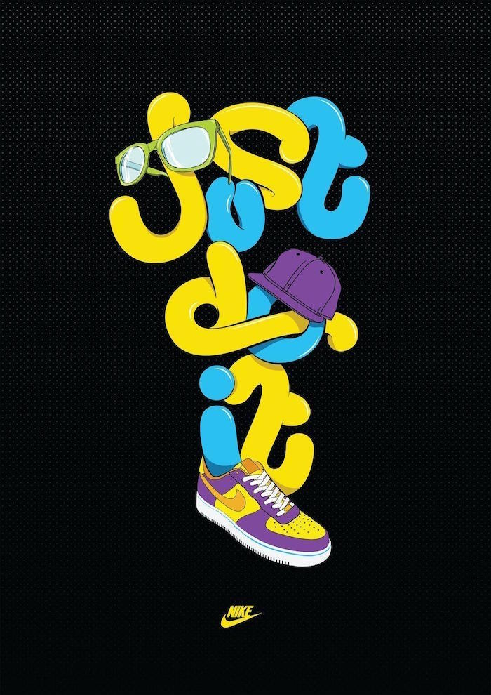colorful just do it and nike logo in green blue and purple cool nike backgrounds black background