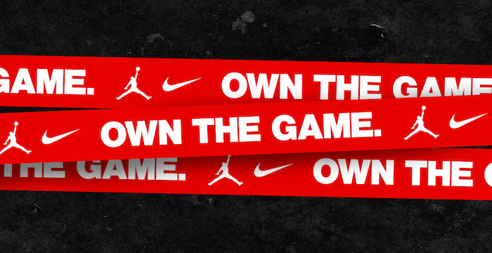 cool nike wallpapers jordan brand and nike logos in white on red and black background own the game written in white