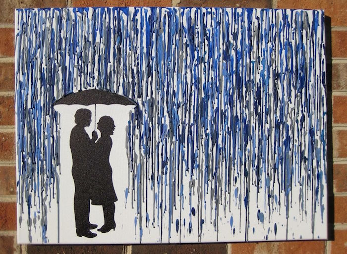 crayon art first valentine gift for boyfriend melted gray and blue crayons for rain over drawing of couple holding an umbrella