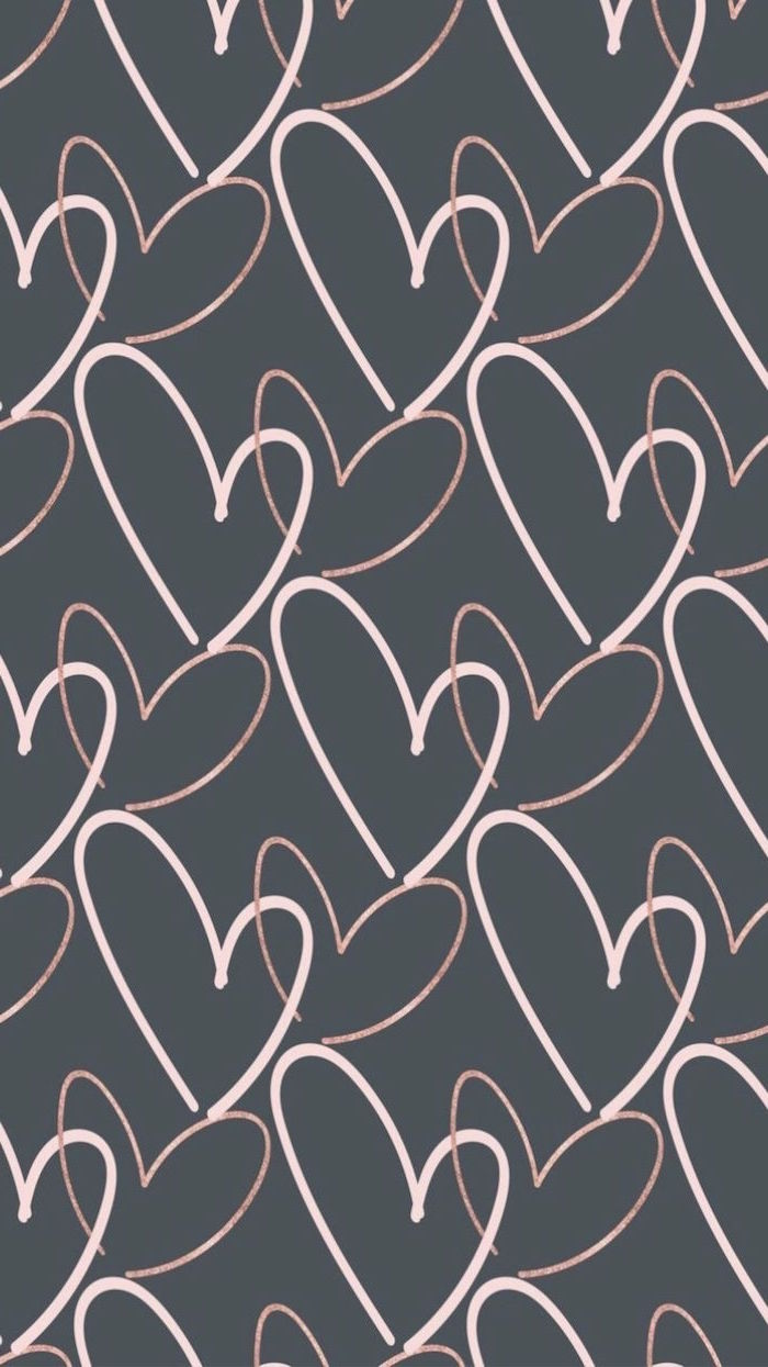 dark gray background valentines day wallpaper lots of hearts drawn with rose gold outlines