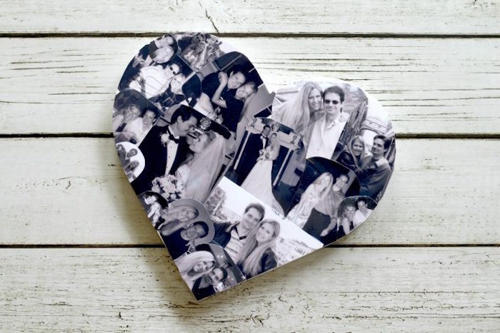 diy tutorial for wooden heart covered with black and white photos of a couple cute things to get your boyfriend for valentines day