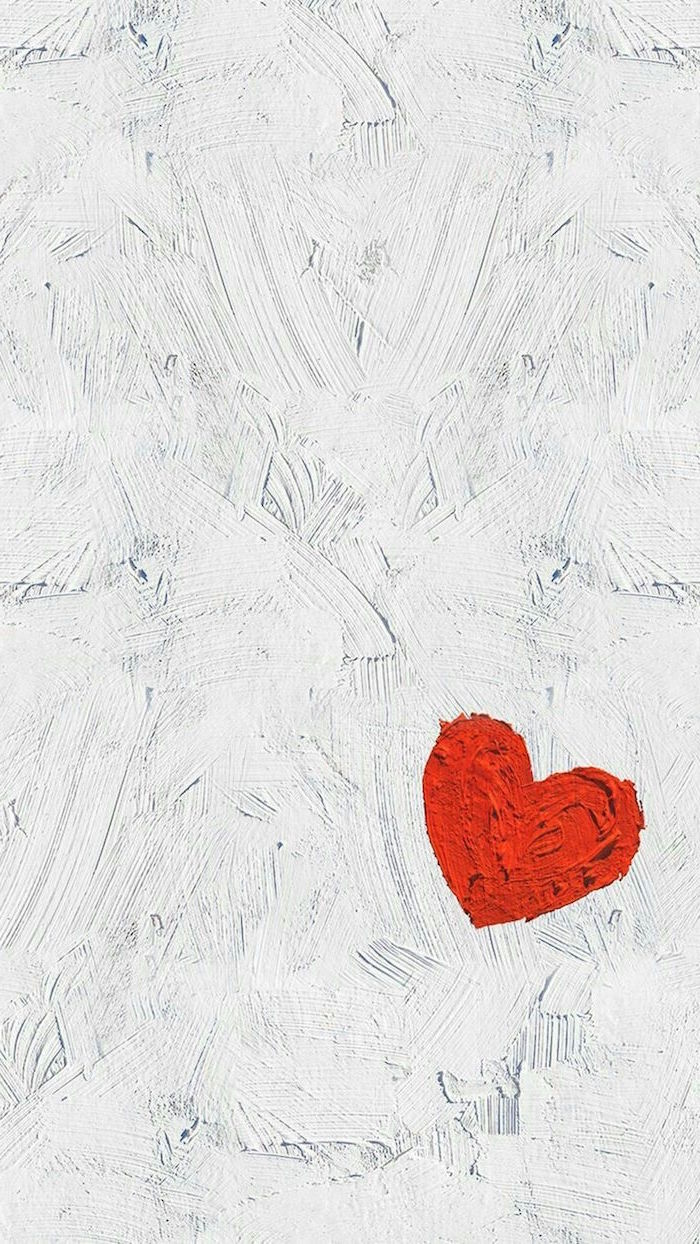drawing of red heart on white background valentines wallpaper made with paint brush strokes