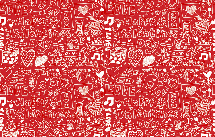 drawings of champagne flutes hearts love birds valentines background happy valentines day written in white on red background