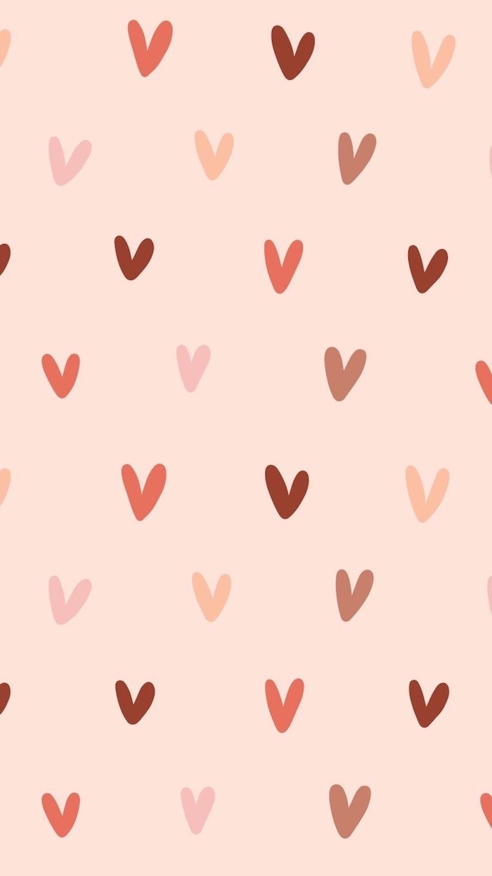 drawings of different hearts in shades of red and pink valentines day wallpaper light pink background