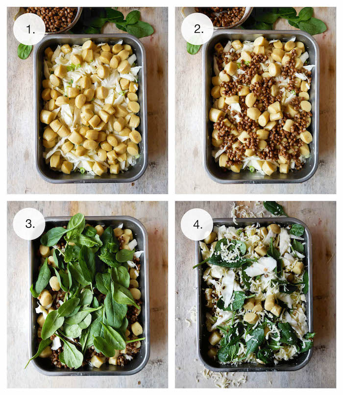 four step tutorial for easy vegan gnocchi healthy gnocchi recipes with cheese spinach nuts baked in black casserole